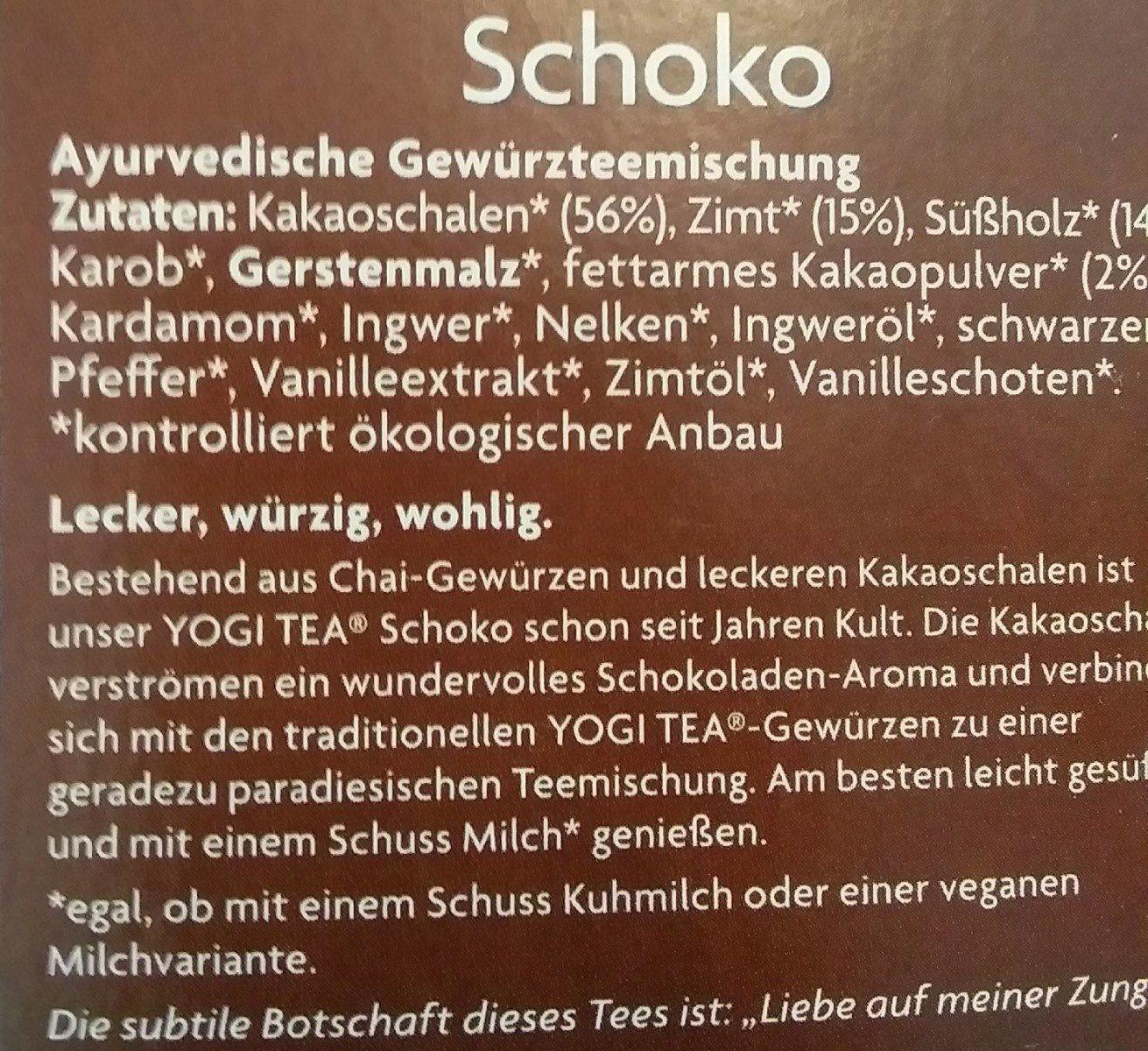 Yogi Tea Schoko, Aztec Spice - Informations nutritionnelles - fr
