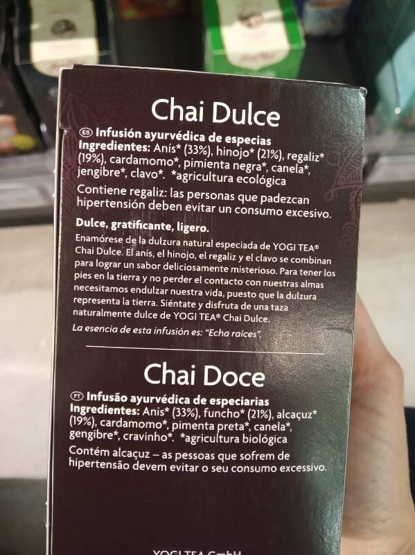 Yogi Tea Chai Dolce - Ingredientes - ca