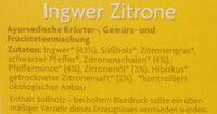 Ingwer Zitrone - Ingrédients