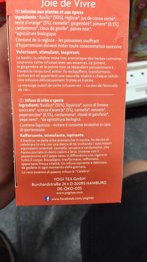 YogiTea Joie de Vivre - Ingrédients - fr