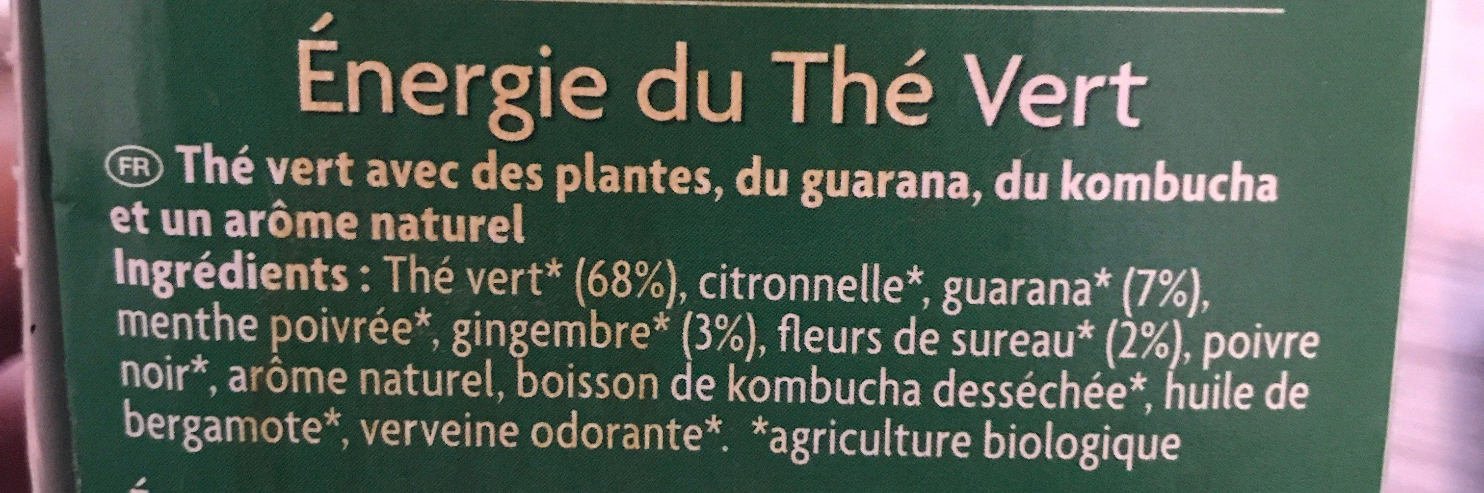 Énergie du thé vert - Ingrédients