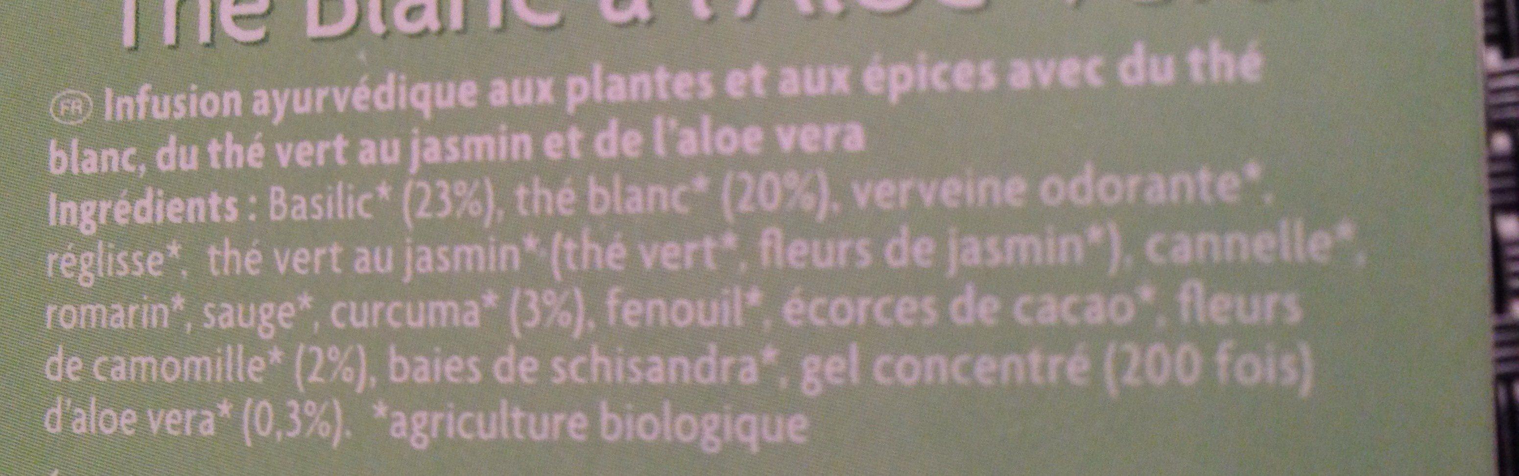 Thé Blanc à l'Aloe vera - Ingrédients - fr