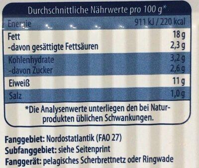 Heringsfilet in Senf-Creme - Informations nutritionnelles - en