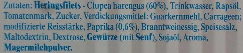 Heringsfilets in Paprikacreme - Ingredients