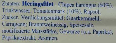 Heringsfilet in Tomaten-Paprika-Creme - Inhaltsstoffe