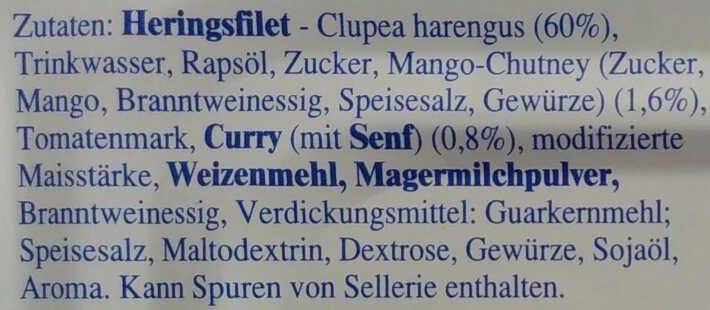 Heringsfilet in Mango-Curry-Creme - Ingredients