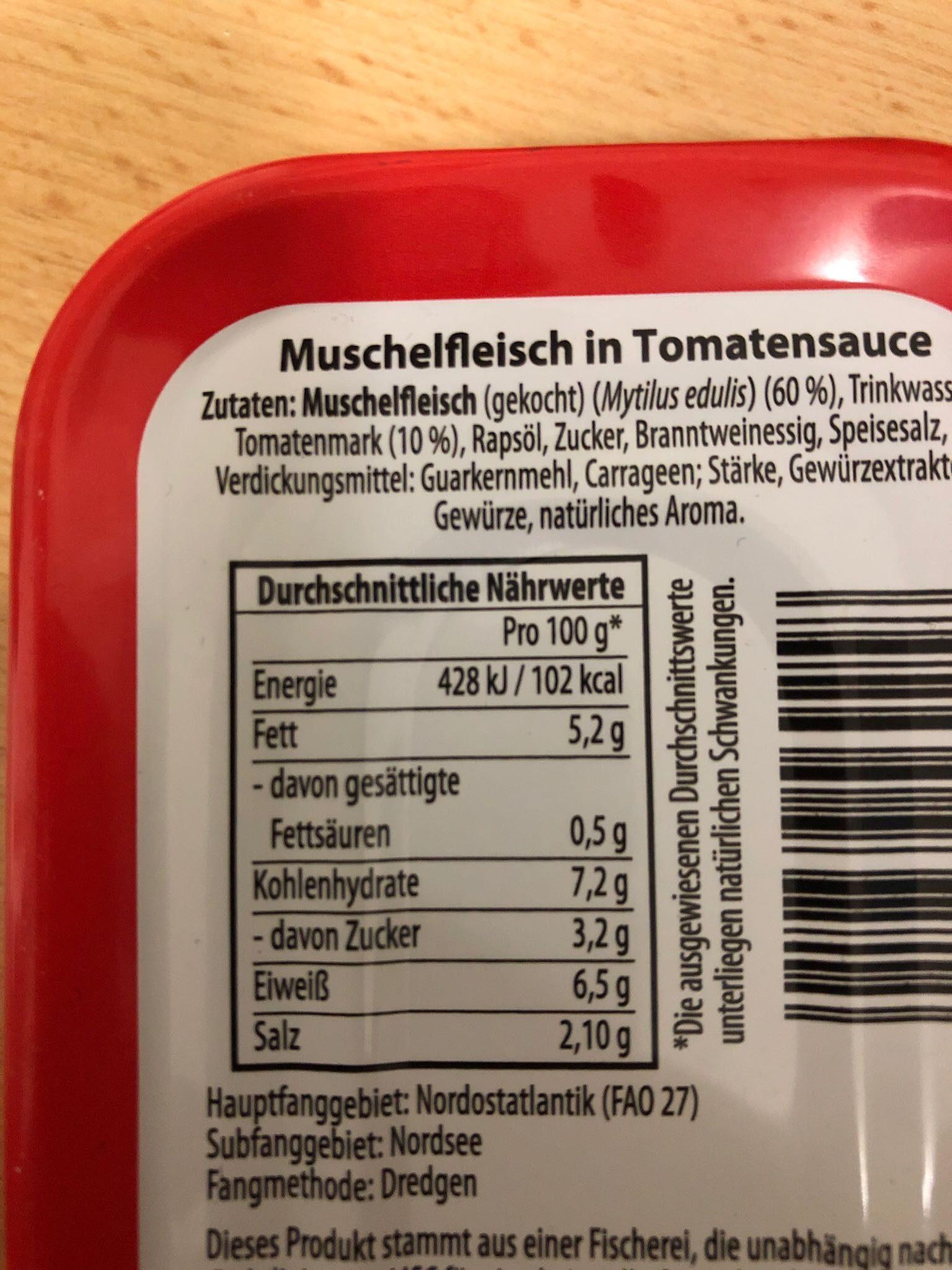 Muscheln in tomatensauce - Nährwertangaben - de