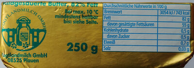 Butter mild gesäuert - Nährwertangaben