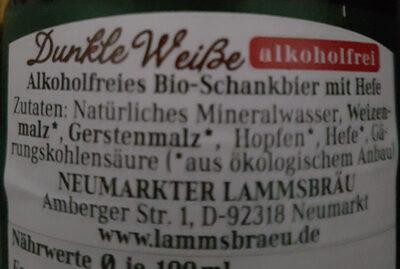 Dunkle Weiße alkoholfrei - Ingredients - de