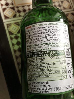 Neumarkter Lammsbräu alkoholfrei - Ingrédients - fr