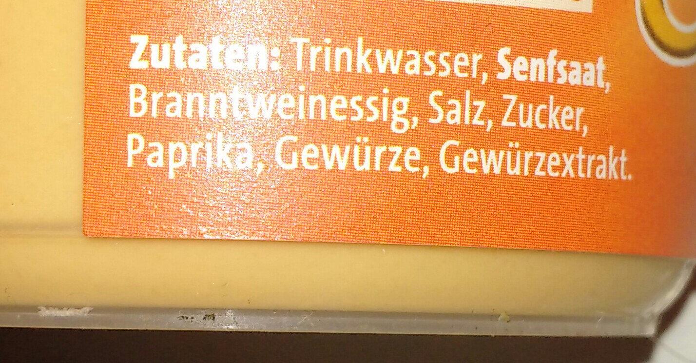 Bautz'ner Bautzner Senf Scharf, Pep Durch Paprika - Zutaten - de