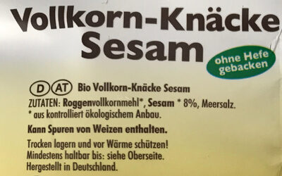 Vollkorn-Knäcke Sesam - Ingredients - de
