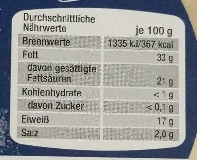 Altenburger Ziegenkäse - Nährwertangaben