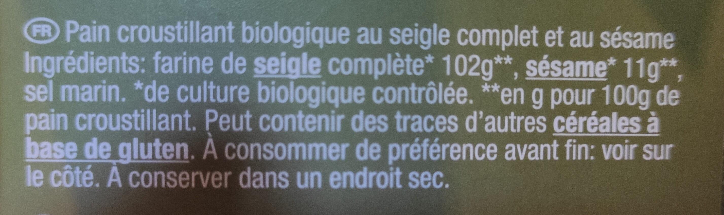 Burger Bio Sesam - Ingredients - de