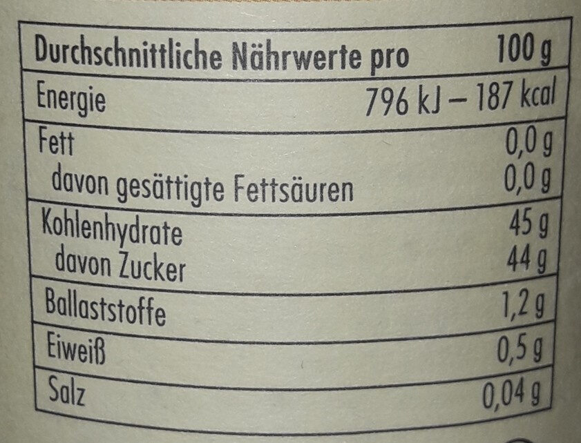 Aprikose Fruchtaufstrich - Nutrition facts