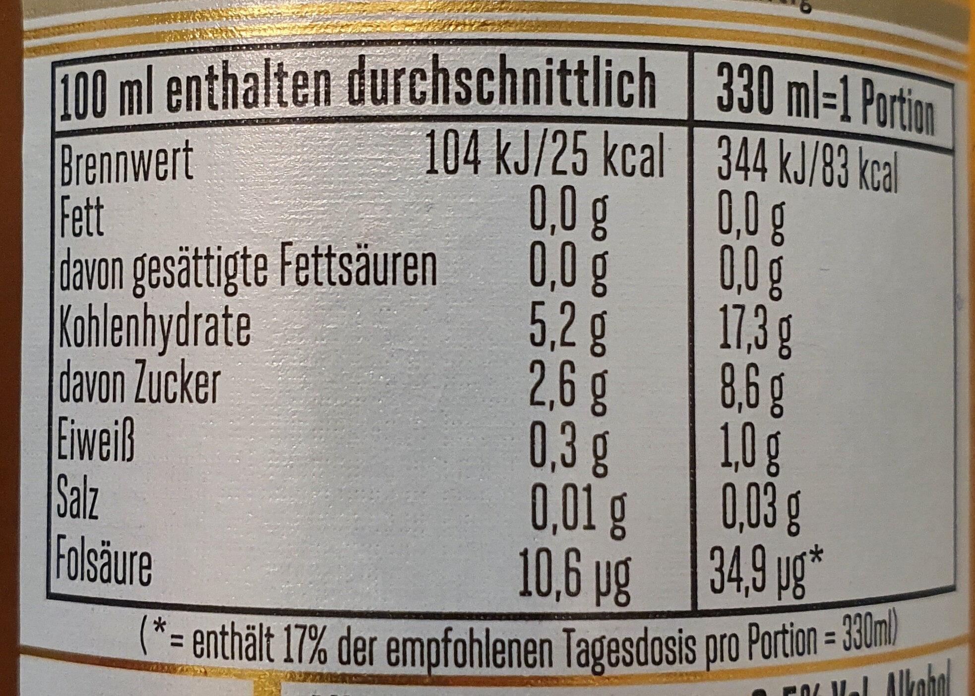 Alkoholfreies Bier - Nährwertangaben - de