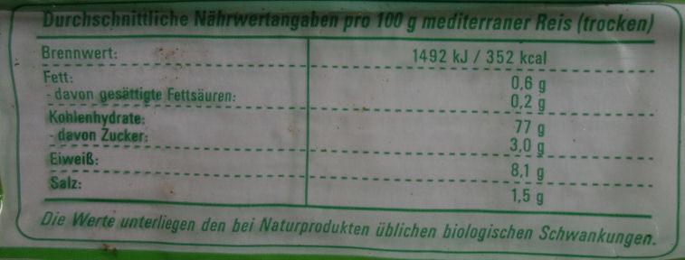 Kuko Mediterraner Reis - Nutrition facts