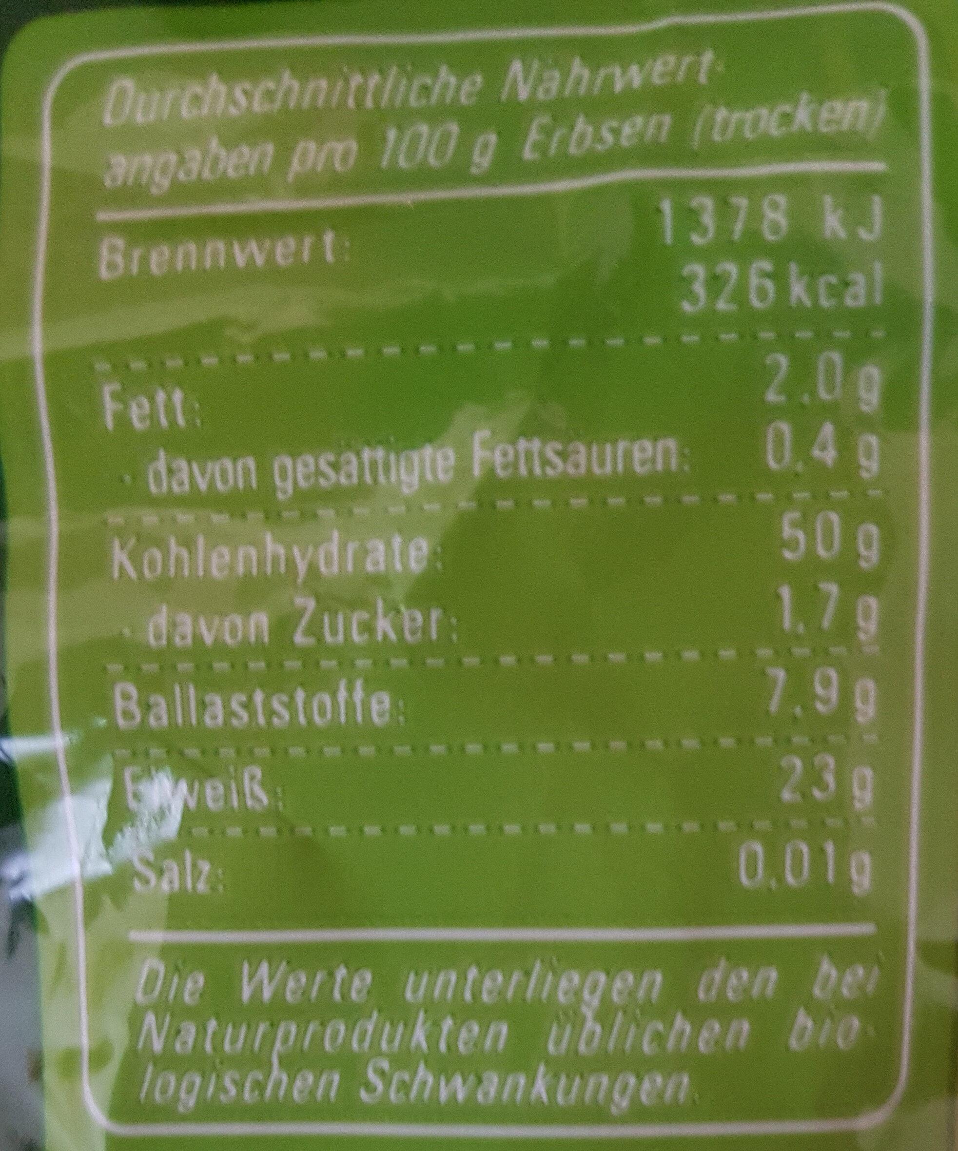 Grüne Erbsen geschält - Informations nutritionnelles - en