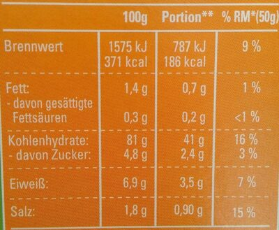 Crisp und Cross Cornflakes - Výživové údaje - de