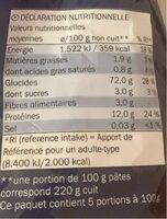 Fusilli - Información nutricional - fr