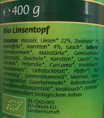Bio Linsentopf - Ingrédients - de