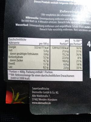 Tomatencremesuppe - Informations nutritionnelles - de