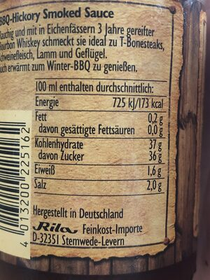Hickory Smoked Sauce - Nutrition facts