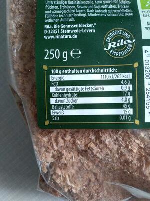 Dinkelkleie - Informations nutritionnelles - de