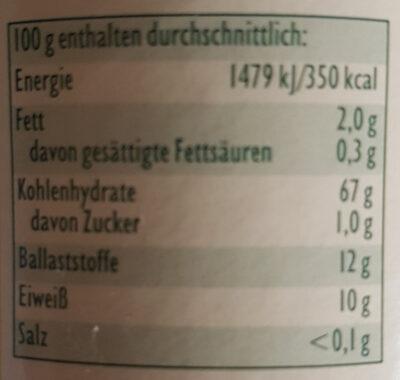 Vollkorn-Sauerteig - Levain complet - Nutrition facts