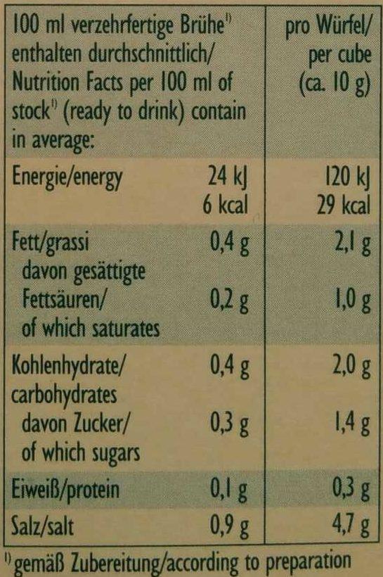 Bio Gemüse-Brühe - Informations nutritionnelles