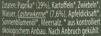 Paprika Cashewkerne Brotaufstrich - Ingrédients - de