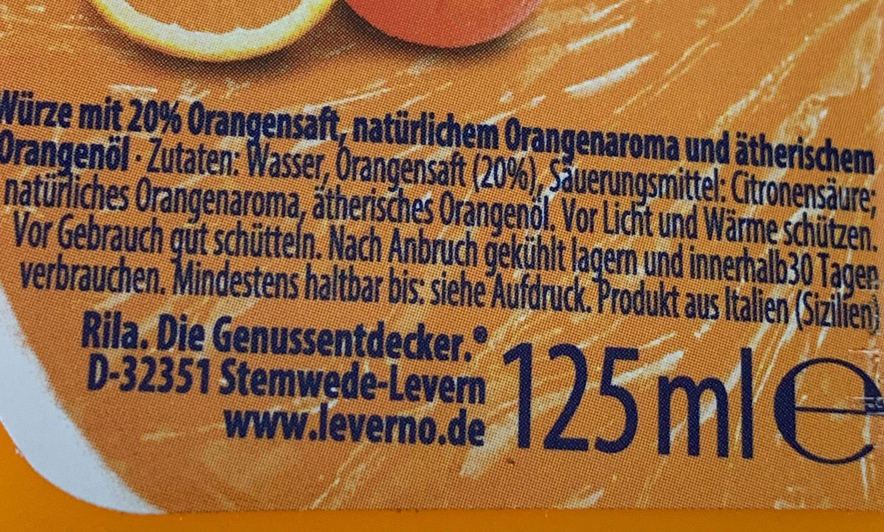 Oro d'Orange - Ingredienti - de
