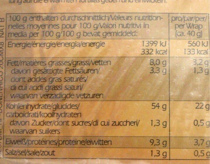 Wrap Tortillas - Valori nutrizionali - en