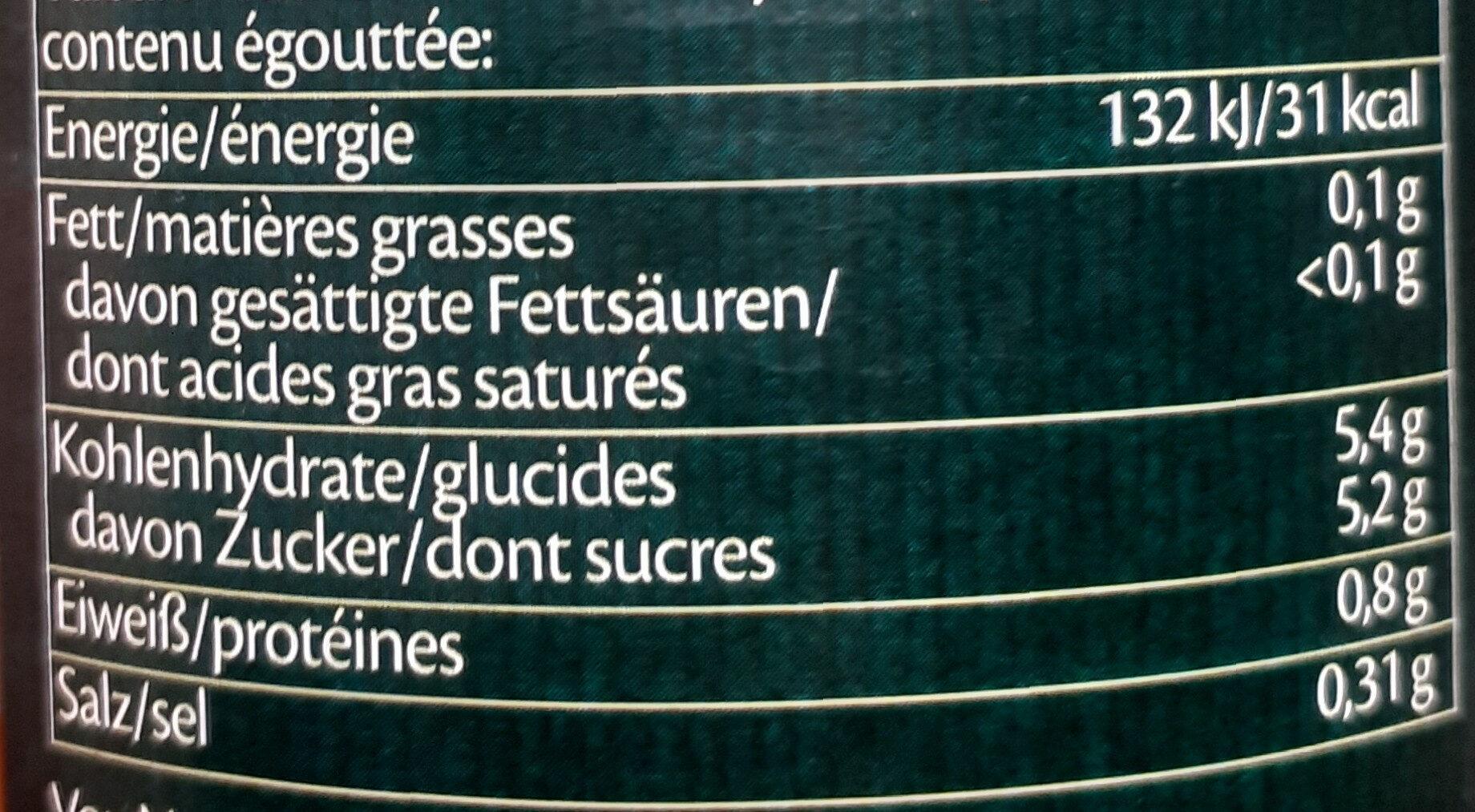 Chop-Suey Gemüsemischung - Nutrition facts - de