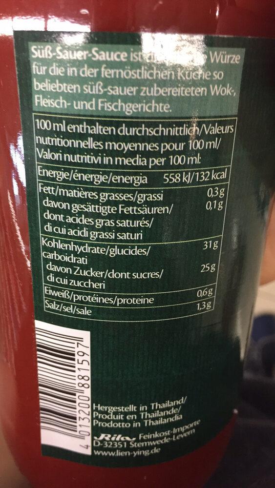 Lien Ying Asian-Spirit sauce - Informations nutritionnelles - fr