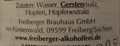 Freiberger Alkoholfrei - Ingredients