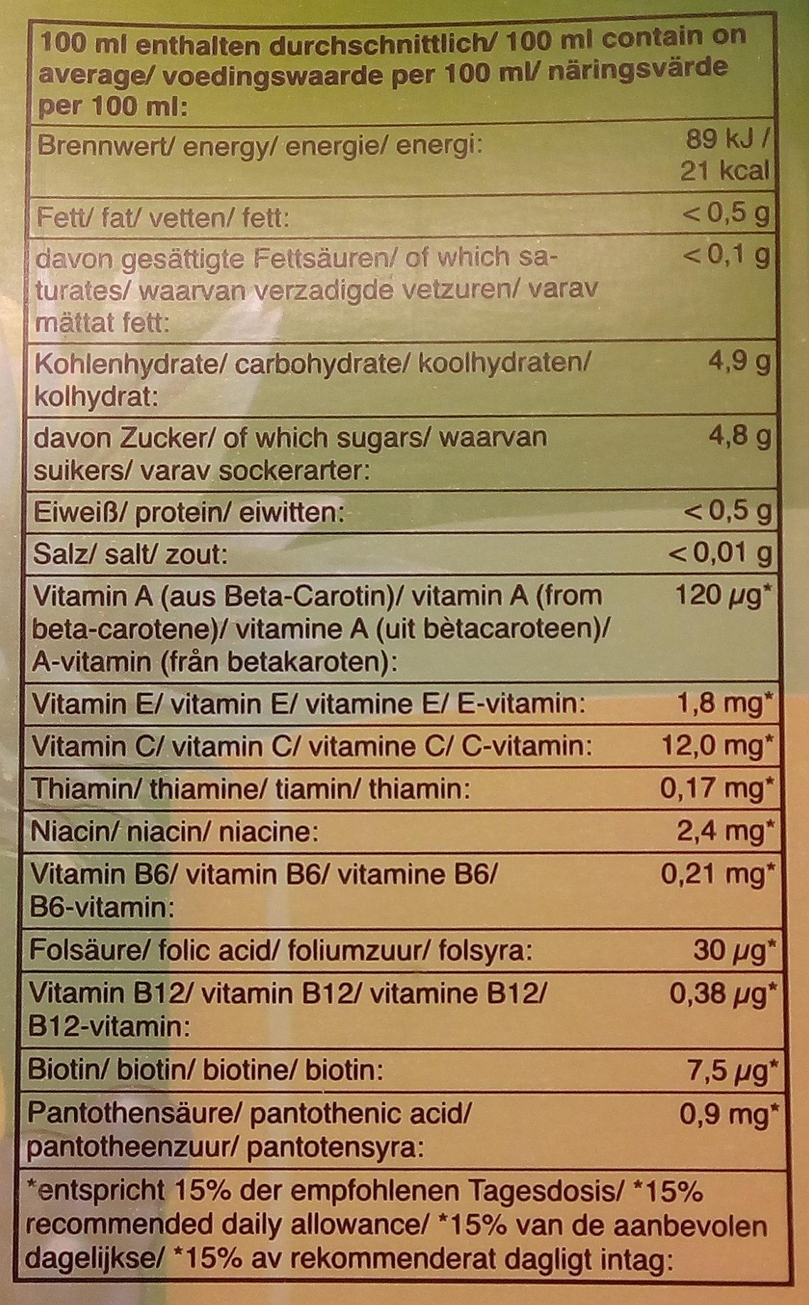 Glocken Gold Multivitamin Fruktdryck - Nutrition facts