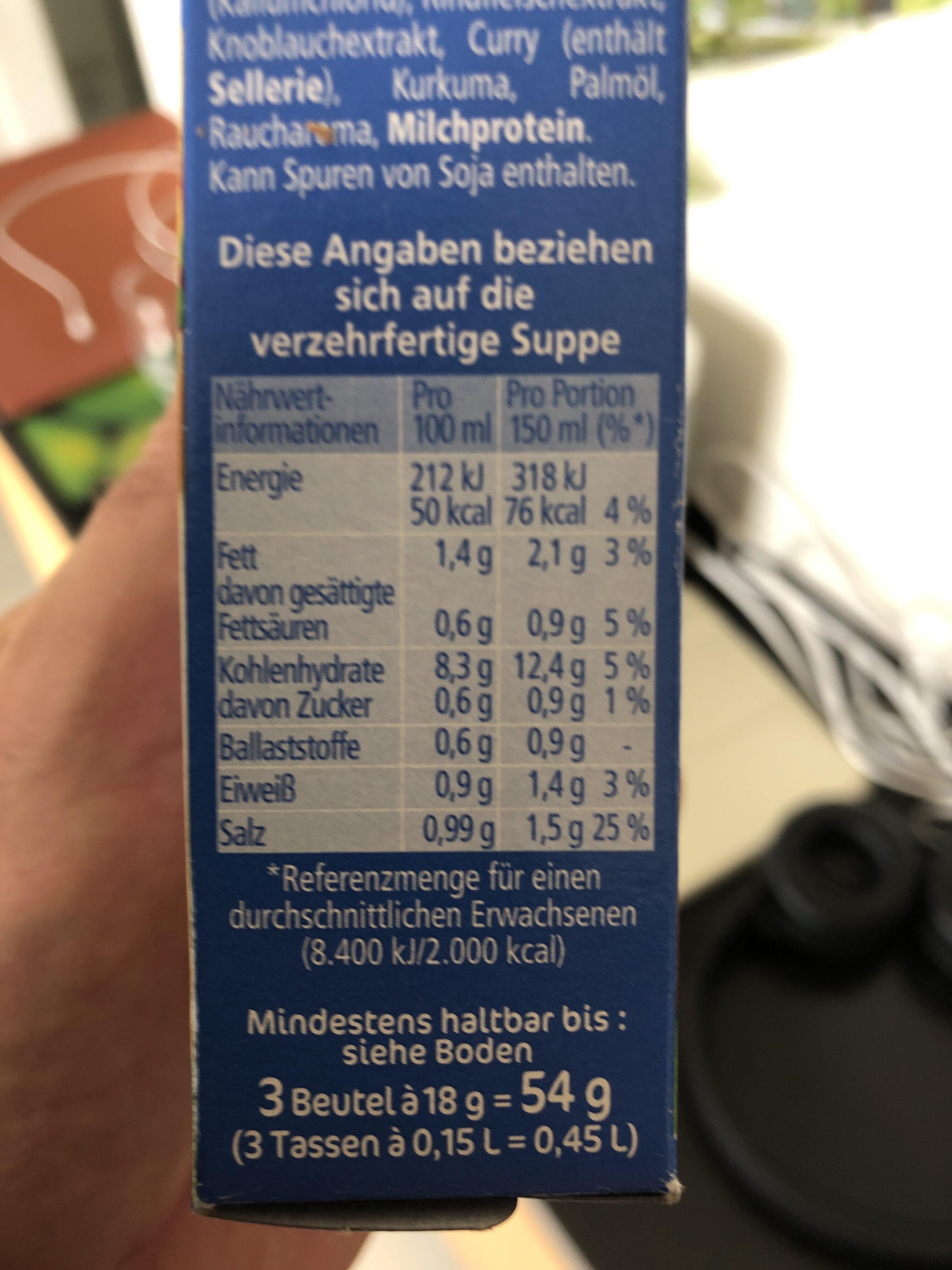 Knorr Heiße Tasse Kartoffelcreme - Nutrition facts - sq