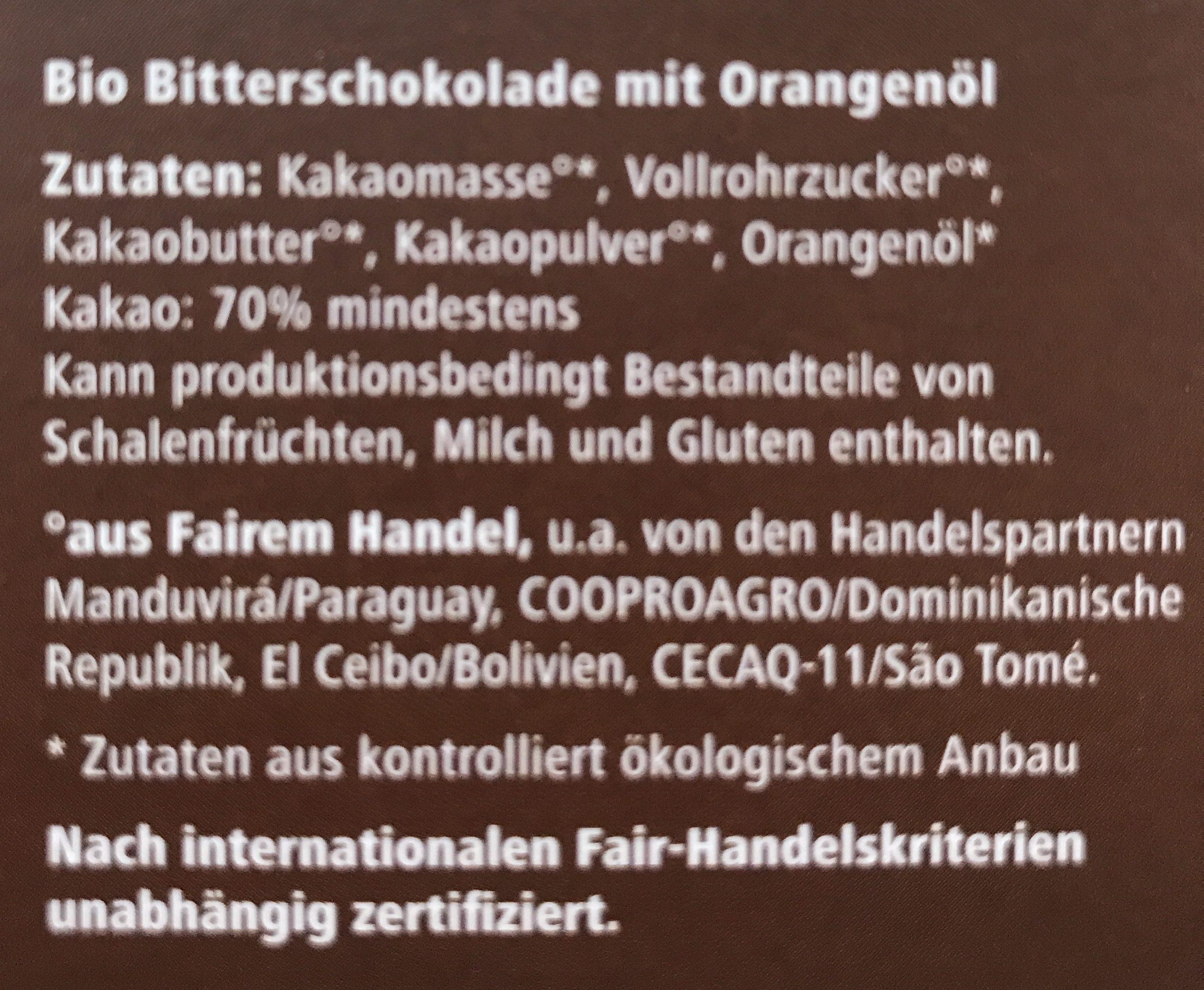 Zarte Bitter Orange 70% - Ingredients