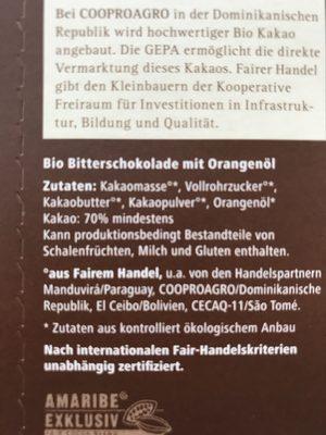 Zarte Butter Orange 70% - Ingrédients - fr