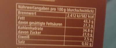 Zarte Butter Orange 70% - Informations nutritionnelles - de