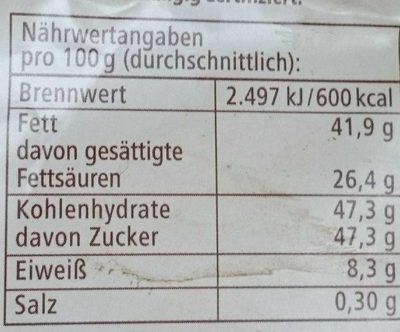 Mascobardo Weiße Schokolade - Nutrition facts