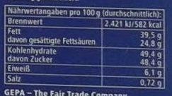 Bio Chocolat Salty Caramel - Nutrition facts