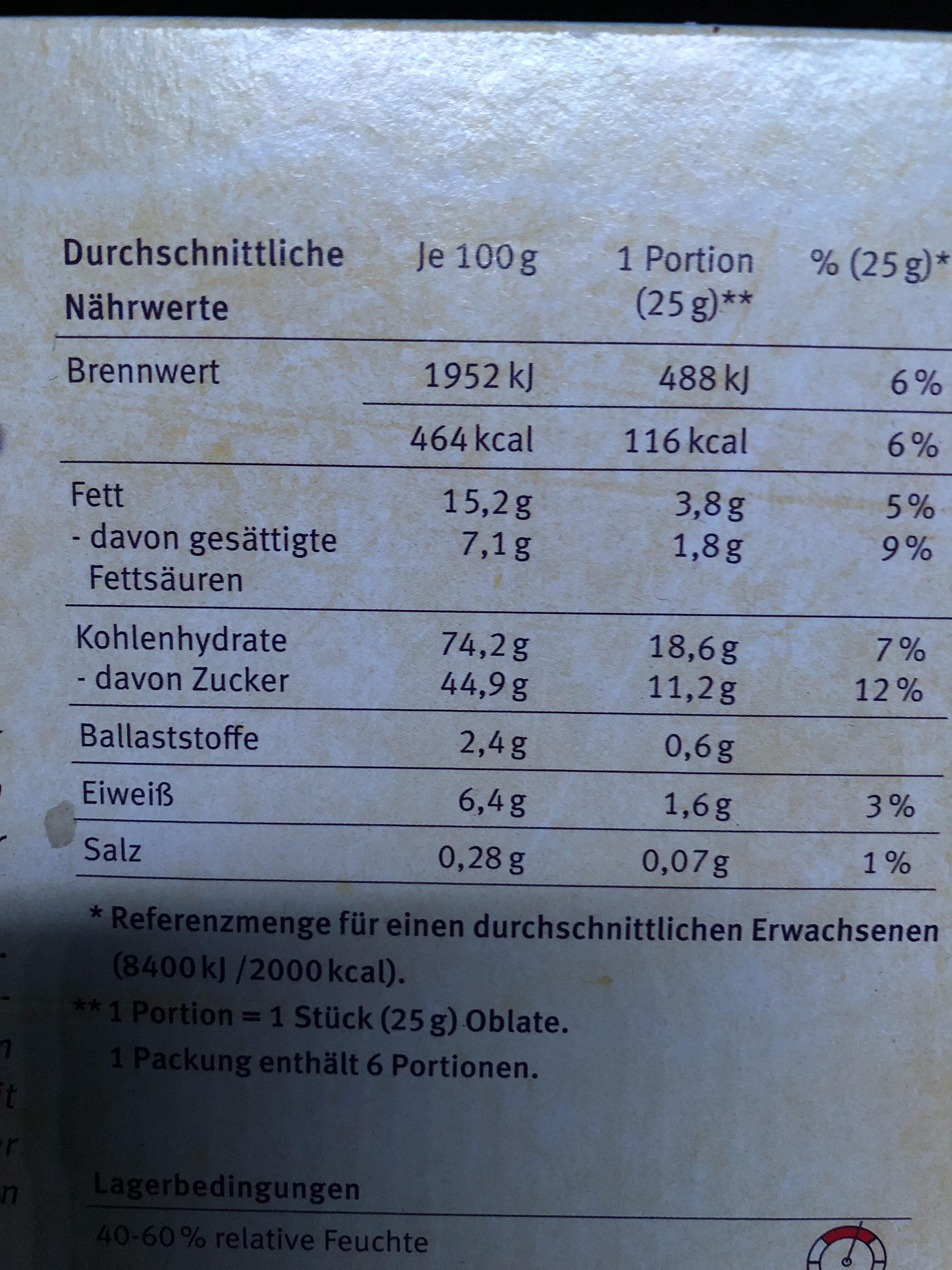Oblaten mit Haselnüssen - Informations nutritionnelles - fr