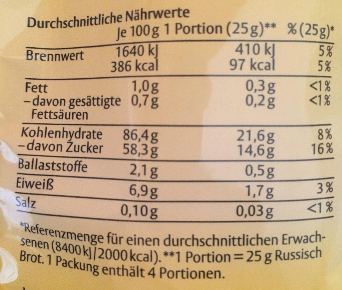 Dresdner Russisch Brot Original - Informations nutritionnelles - de