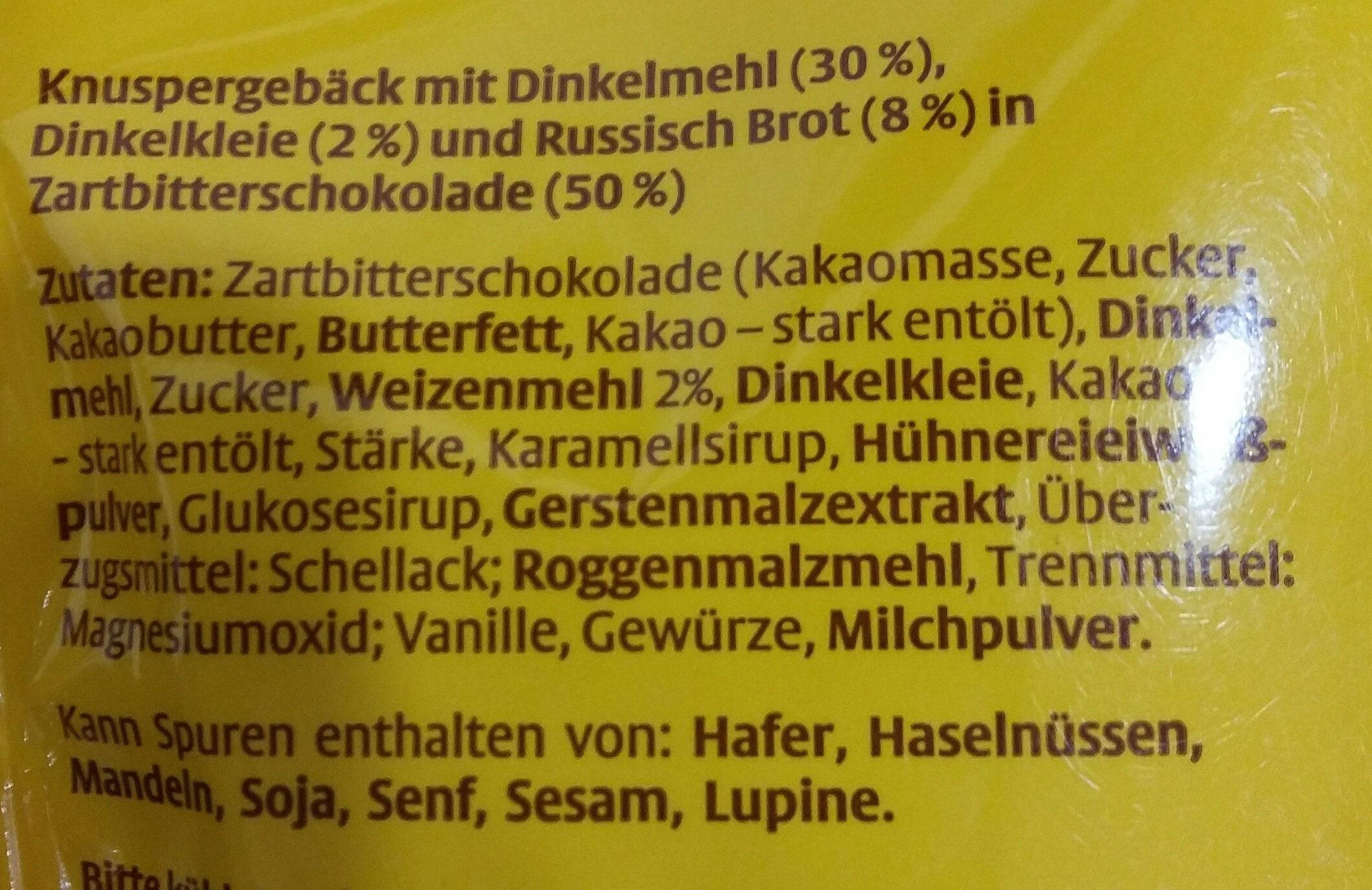 Dr. Quendt Original Dinkelchen - Zartbitterschokolade - Ingredients
