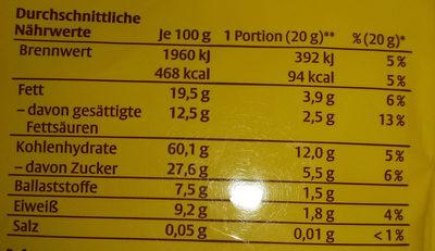 Dr. Quendt Original Dinkelchen - Zartbitterschokolade - Nutrition facts