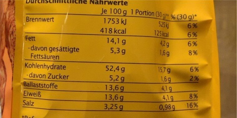 Original Bemmchen herzhafte Vollkorn-Brotchips - Nutrition facts - de
