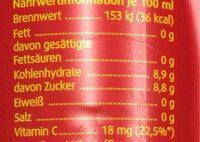 Vita Cola - Informazioni nutrizionali - de