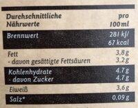 Frische Bio Weidemilch - Nährwertangaben - de